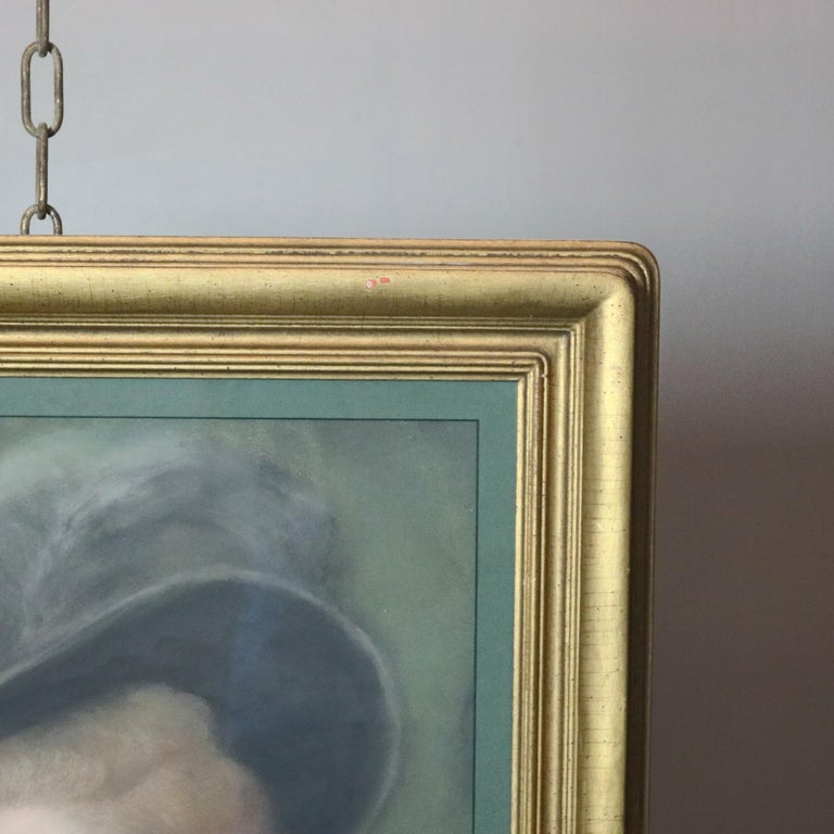 Giltwood Antique Pastel Portrait Painting of Victorian Woman in Hat, 20th Century For Sale