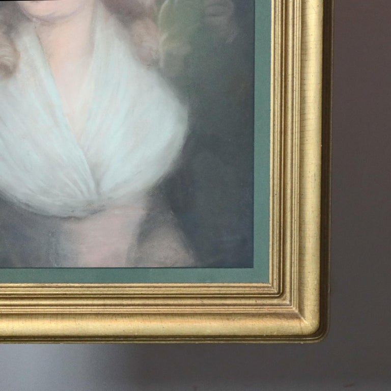 Antique Pastel Portrait Painting of Victorian Woman in Hat, 20th Century For Sale 1