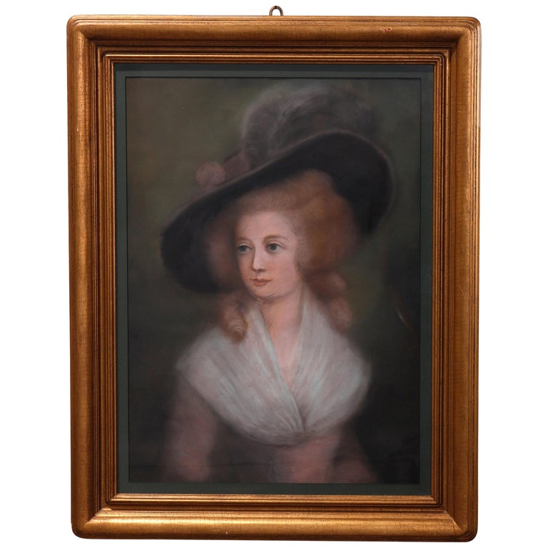 Antique Pastel Portrait Painting of Victorian Woman in Hat, 20th Century For Sale
