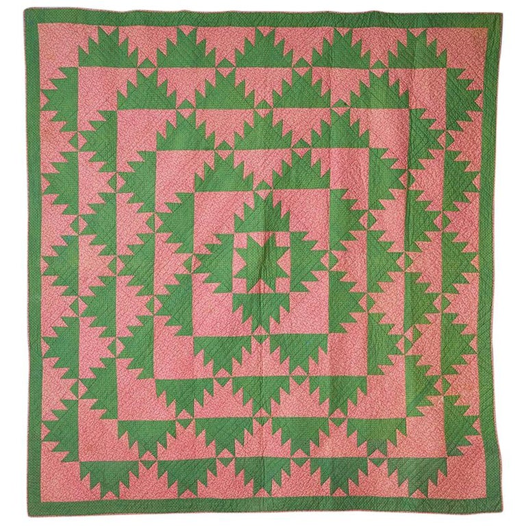 """Antique Patchwork Center Star """"Delectable Mountains"""" Quilt, USA, 1850s For Sale"""