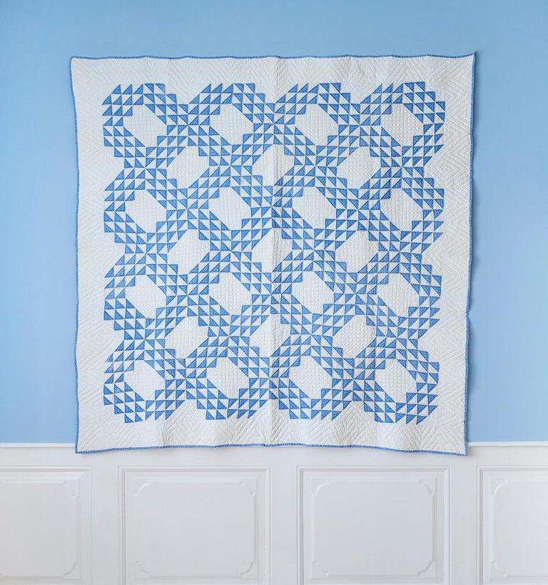USA, 1890s  Lancaster blue and white 'Ocean Waves' antique quilt.  Measures: H 194 x W 185 cm.