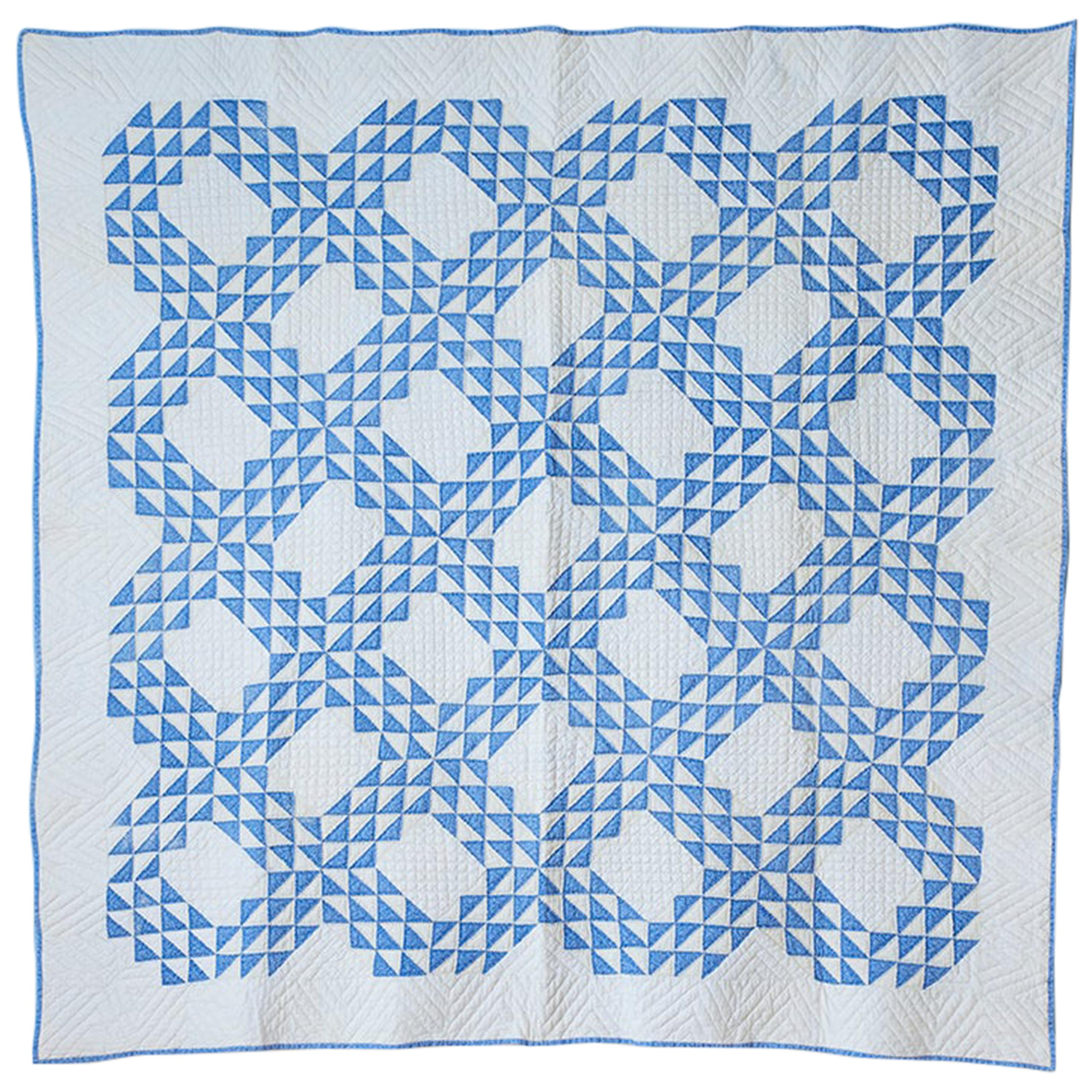 """Antique Patchwork """"Lancaster Ocean Waves"""" Quilt in Blue and White, USA, 1890s"""