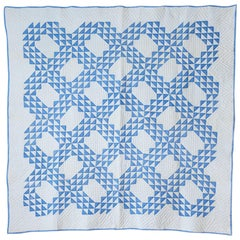 "Antique Patchwork ""Lancaster Ocean Waves"" Quilt in Blue and White, USA, 1890s"
