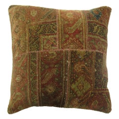 Antique Patchwork Rustic Rug Pillow