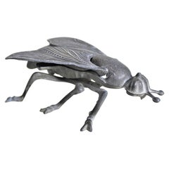 Antique Brass Patinated Cast Metal Figural Wasp or Hornet Insect Ashtray