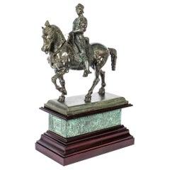 Antique Patinated Bronze Equestrian Statue of Bartolomeo Colleoni 1860 19th C