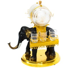 Antique Patinated Bronze and Ormolu Elephant Liqueur Set Tantalus, 19th Century