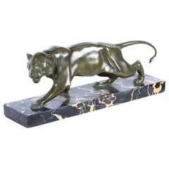 Antique Patinated Bronze Prowling Lioness by Biagini, 1920s
