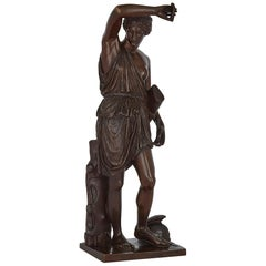 Antique Patinated Bronze Sculpture of Minerva by Ferdinand Barbedienne