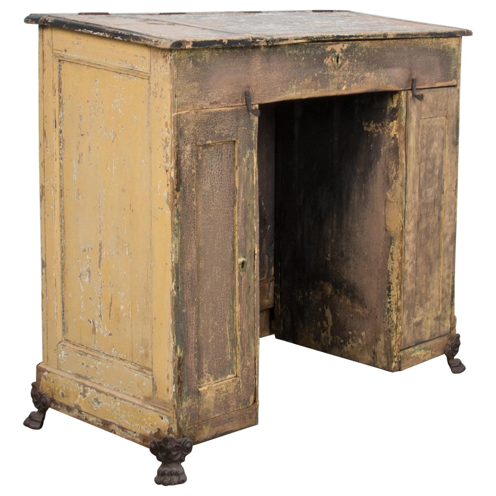 Antique Patinated French Clawfoot Desk