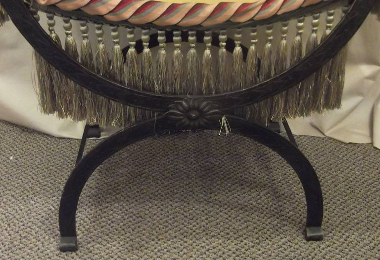 American Antique Patinated Iron Savonarola Armchair with Luxurious Fringe For Sale
