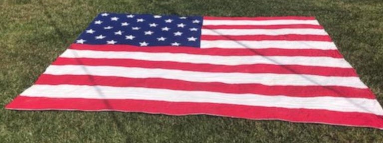 Hand-Crafted Antique Patriotic Flag Quilt with 18 Stars Appliqued For Sale