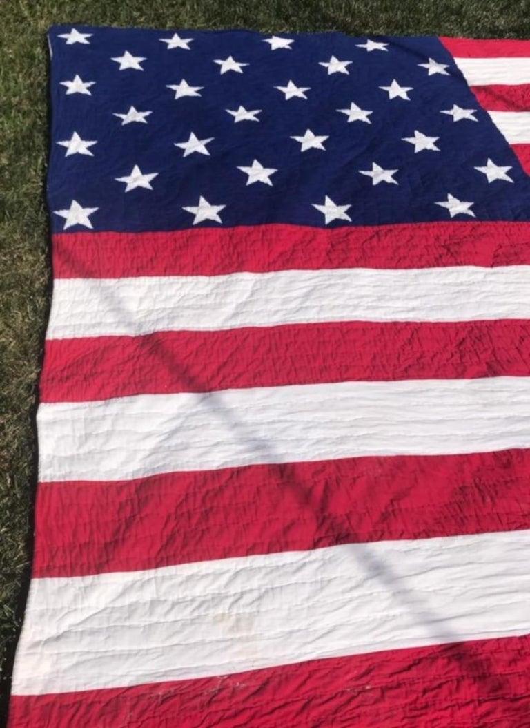 Cotton Antique Patriotic Flag Quilt with 18 Stars Appliqued For Sale