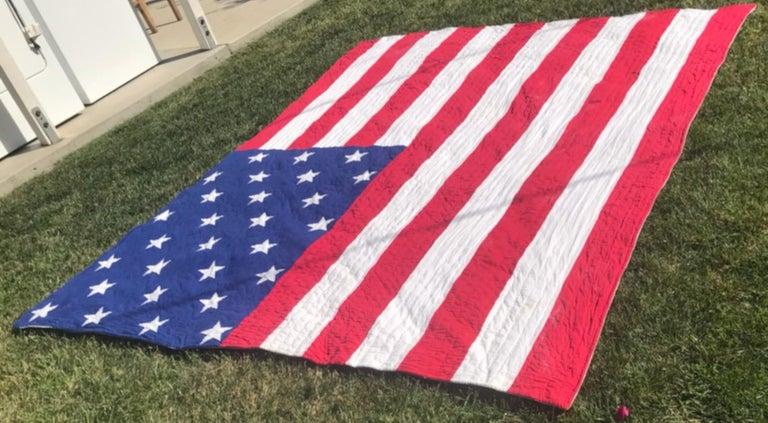 Antique Patriotic Flag Quilt with 18 Stars Appliqued For Sale 1