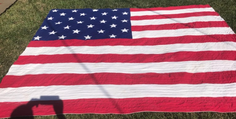 Antique Patriotic Flag Quilt with 18 Stars Appliqued For Sale 2