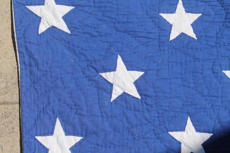 Adirondack Antique Patriotic Flag Quilt with 18 Stars Appliqued For Sale
