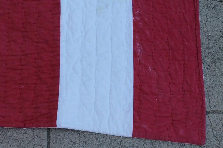 American Antique Patriotic Flag Quilt with 18 Stars Appliqued For Sale
