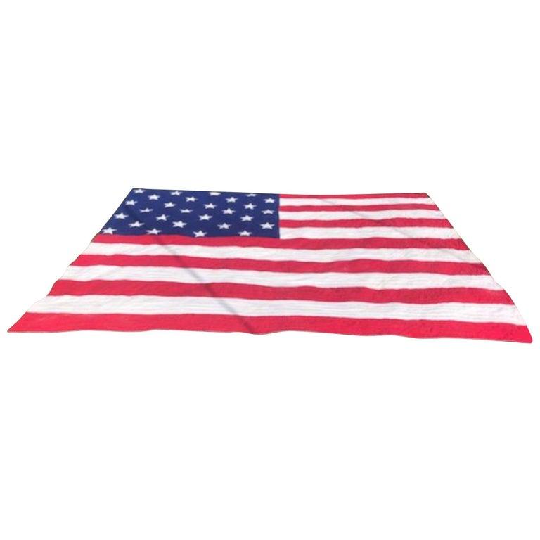 Antique Patriotic Flag Quilt with 18 Stars Appliqued For Sale