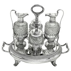 Antique Paul Storr Georgian Silver & Glass Cruet Set 1806 Condiment Cruet Stand