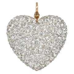 Antique Pavé Diamond Heart Pendant in Gold and Platinum