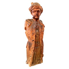 Antique Pear Wood Carving Young Nobleman Hat Waistcoat Veneto Fountain Figure