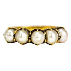 Antique Pearl and 18 Carat Gold Five-Stone Ring