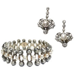 Antique Pearl and Diamond Bracelet and Earrings Suite, Circa 1880