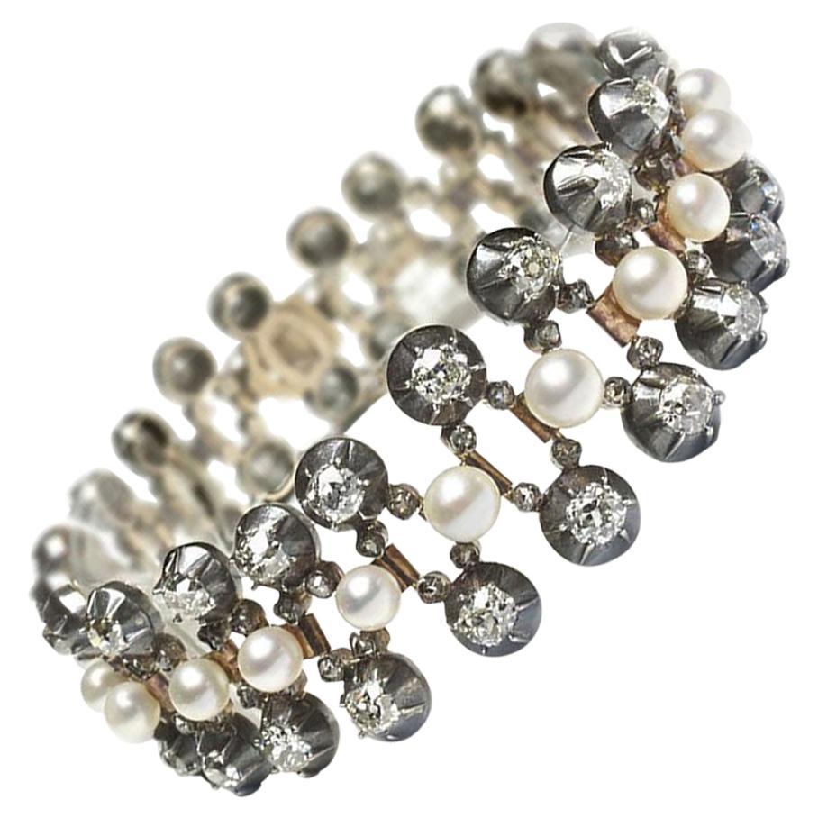 Antique Pearl and Diamond Bracelet, circa 1880