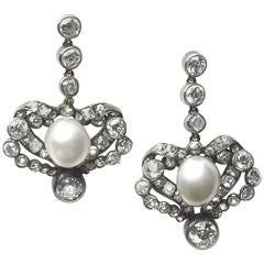 Antique Pearl and Diamond Earrings, circa 1880