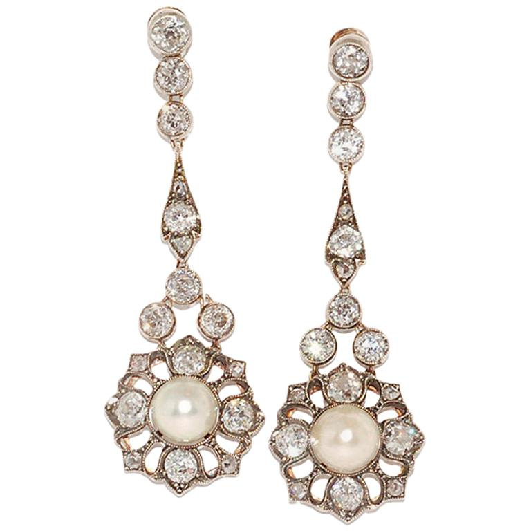 Antique Pearl and Diamond Pendant Earrings, circa 1890s