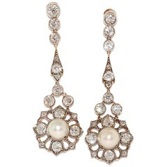 Antique Pearl and Diamond Pendant Earrings, circa 1890s