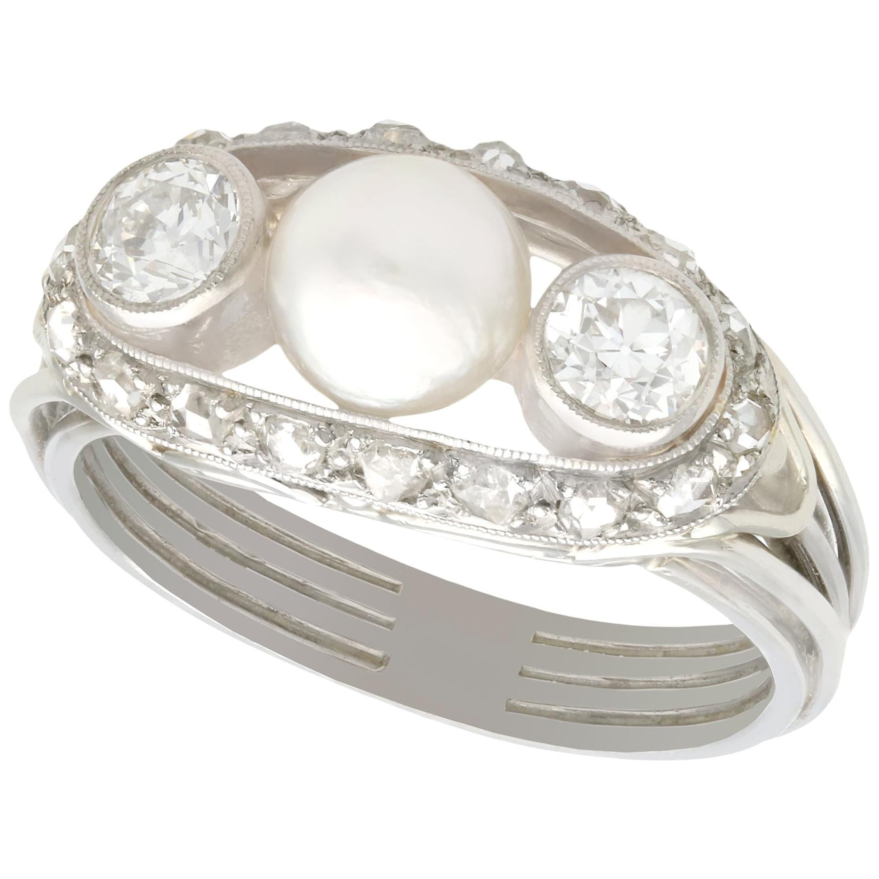 Antique Pearl and Diamond White Gold Cocktail Ring Circa 1920