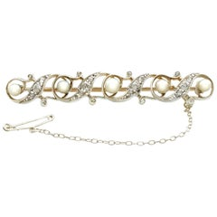 Antique Pearl and Diamond Yellow Gold and Silver Set Brooch