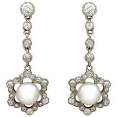 Antique Pearl and Diamond Yellow Gold Drop Earrings, circa 1900