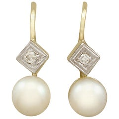 Antique Pearl and Diamond Yellow Gold Drop Earrings, circa 1930