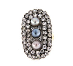 Antique Pearl and Old Cut Diamond Cluster Ring