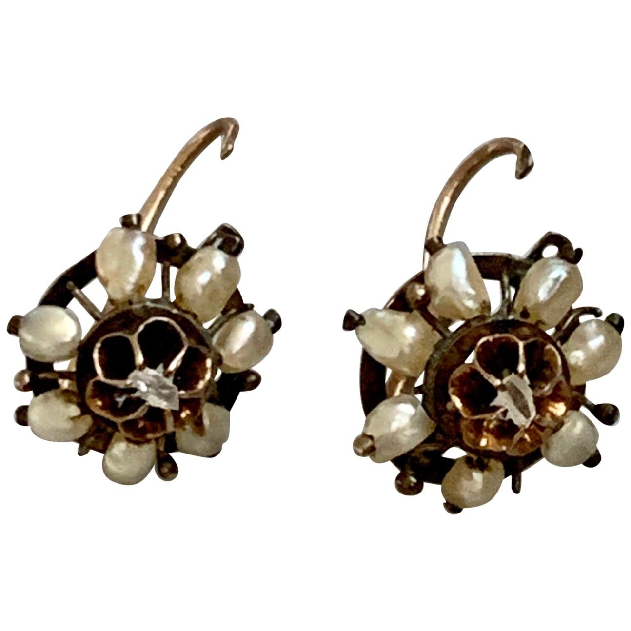 Antique Pearl and Rose Cut Diamond 9 Karat Yellow Front Hook Closure Earrings