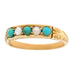 Antique Pearl and Turquoise Set Gold Ring