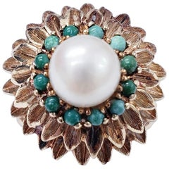 Antique Pearl and Turquoise Sunflower Design Cocktail Ring