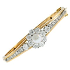 Antique Pearl Diamond 18k Gold Bangle Bracelet French Edwardian Victorian