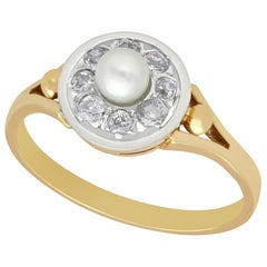 Antique Pearl Diamond and Yellow Gold Cocktail Ring, circa 1920
