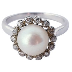 Antique Pearl Diamond Gold Cluster Cocktail Ring