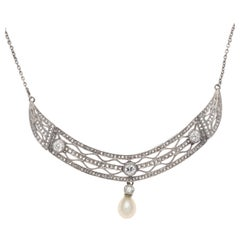 Antique Pearl Diamond Platinum Necklace