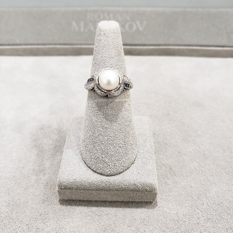 Antique Pearl Diamond Sapphire Art Deco Ring In Good Condition For Sale In New York, NY