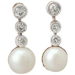 Antique Pearl Diamond Yellow Gold Platinum Set Drop Earrings