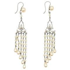 Antique Pearl Droplet Earrings 1920s