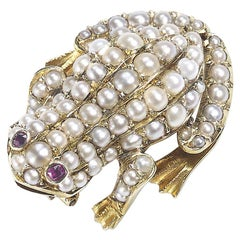 Antique Frog Brooch Pearl set with Ruby and Gold Circa 1900