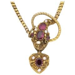 Antique Pearl Garnet Gold Snake Necklace