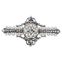Antique Pearl Rose Cut Diamond Victorian 14K Gold Brooch