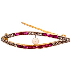Antique Pearl, Ruby and Diamond Brooch in Gold